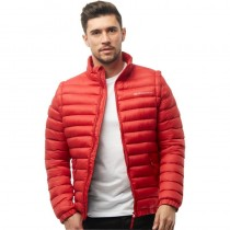 Crosshatch Mens Zip Off Padded Jacket With Removable Sleeves Haute Red