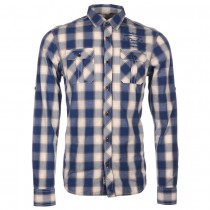RAMSEY CHECK SHIRT IN BLUE/IVORY